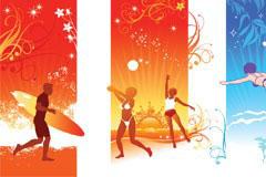 3款超酷的夏日运动与潮流花纹矢量素材