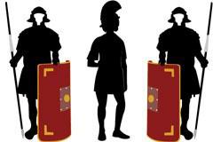 身穿盔甲手拿盾牌的古代武士剪影矢量素材