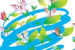 旋风中的蝴蝶与树叶矢量素材