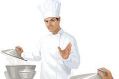 一款正在烹调美食的厨师矢量素材