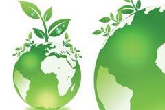 一款环保主题的绿色地球与植物矢量素材