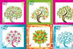 16款精美彩色印象树矢量素材