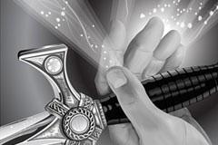 矢量宝剑黑白CG风格动漫素材