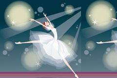 充满梦幻色彩的芭蕾舞女孩矢量素材