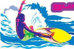 一款色彩鲜明的冲浪人物矢量素材