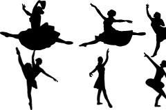 一组优美的芭蕾舞动作剪影矢量素材