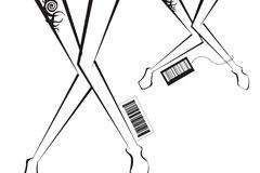 一款独具匠心的女性腿部与条形码矢量素材