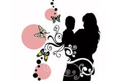 亲密的母子剪影与潮流花纹矢量素材