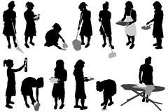多款女性做家务剪影矢量素材