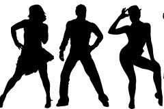 流行舞蹈人物动作剪影矢量素材