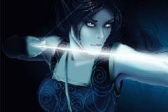 暗夜中手持弓箭的女精灵