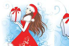 穿圣诞装的美丽女孩矢量素材