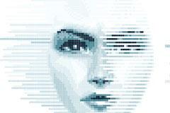 马赛克女性脸孔矢量素材