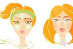 三款卡通金发女孩头像矢量素材