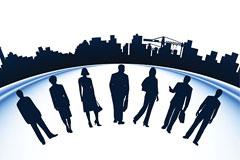 职场人物与建筑剪影矢量素材