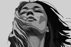 一款立体感超强的女性黑白头像矢量素材