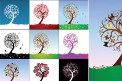 一组精美的不同色调和季节的抽象树矢量素材