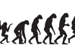 一款形象的人类进化过程剪影矢量素材