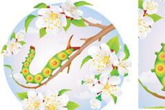 情趣盎然的毛虫与花朵矢量素材