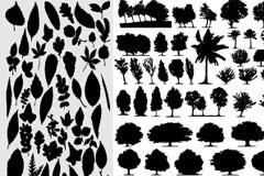 各种树木和树叶剪影矢量素材