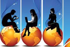 坐在金色地球上的职业男女剪影矢量素材