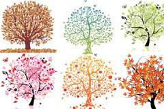 六款精美的印象树矢量亚虎娱乐pt