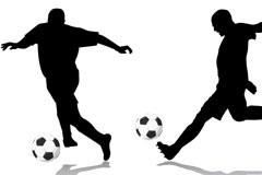 一组精彩的足球动作剪影矢量素材