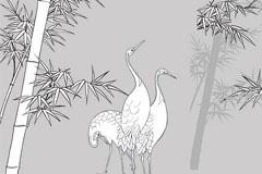 鹤与竹子线描矢量素材
