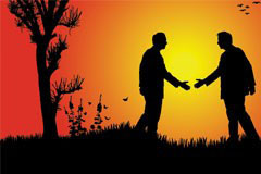 两个人友好握手剪影矢量素材