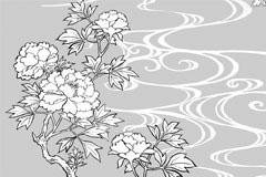 牡丹线描花卉矢量素材