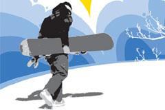 滑雪运动人物矢量素材