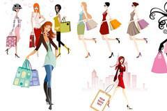 多款时尚购物女孩矢量素材下载