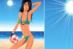 一款沙滩排球美女矢量素材