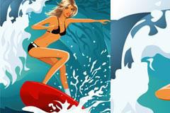 一款海上冲浪美女矢量素材