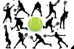 男性和女性网球动作剪影矢量素材