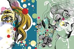 2款潮流元素女性插画矢量素材