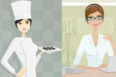 4款不同职业的现代女性插画矢量素材