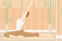 正在做瑜伽的女性运动插画矢量素材
