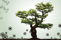 圆点花纹背景树木矢量素材