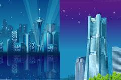 2款AI格式城市夜景矢量素材