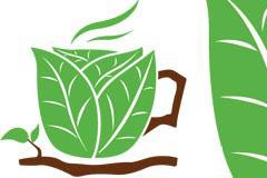 由绿叶组成的创意咖啡杯矢量素材