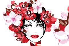 戴满花朵的女性头像矢量素材