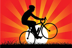 落日下的自行车运动剪影矢量素材