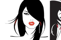 两款美女头像矢量素材
