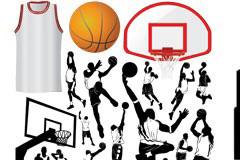 各种篮球运动主题元素及人物剪影