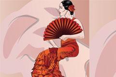 东方古典女性矢量素材