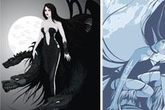 充满神话色彩的魔女与狼漫画矢量素材