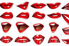 红唇与牙齿矢量素材