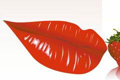 鲜艳欲滴的红唇与草莓矢量素材