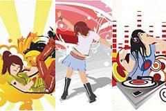 3款音乐潮流女孩插画矢量素材